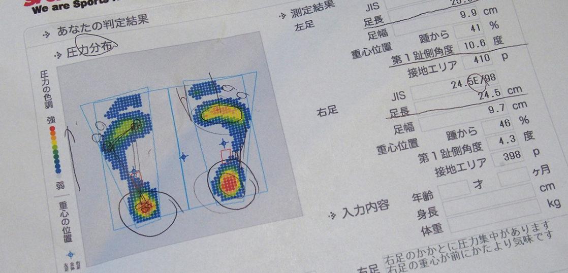 足のサイズや圧力分布を測定