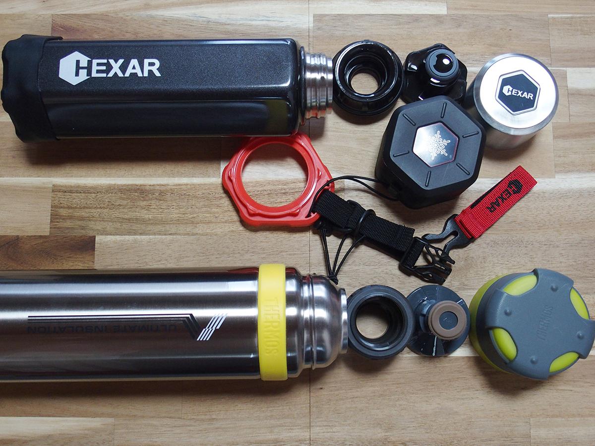 シンプルな「山専ボトル」とギア感が半端ない「HEXAR(ヘキサー) ステンレスボトル」3